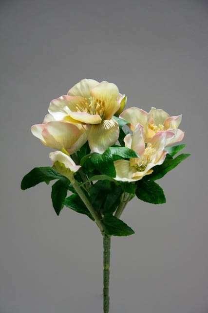 Kunstig julerose - hvid. Hvid julerose. Kunstig dekomateriale. Kunstigt blad. Kunstig blomst. Plastic blomst. Kunstig plante.