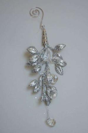 Sølv blad med perler