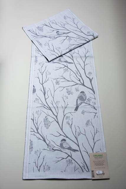 Økologisk bordløber fra Ekelund - efterårs bordløber med fugle - Bullfinches