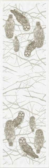 Økologisk bordløber fra Ekelund - ugler - Sitting Owls 35x120