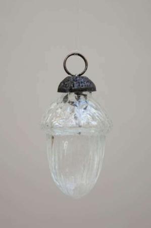 Glas julekugle fra Ib Laursen - agern af klar glas