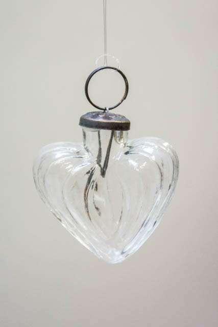 Julekugle hjerte - klar glas