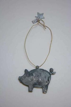 Juleophæng - gris af zink i messing wire