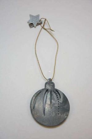 Juleophæng - juletræskugle af zink i messing wire