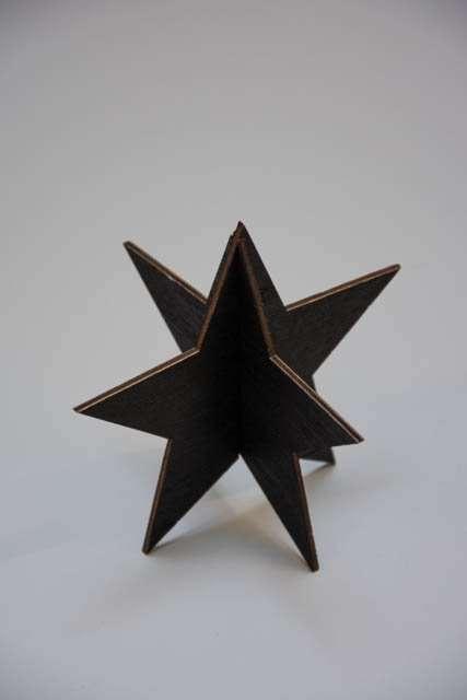 3D julestjerne af træ - sort