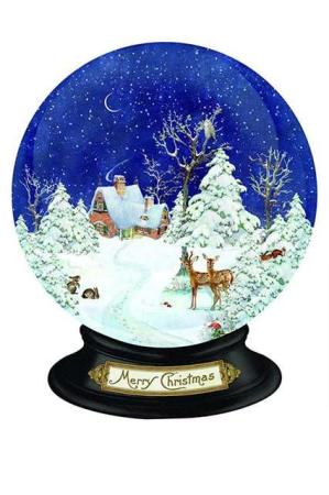 Gammeldags julekalender - rystekugle med snelandskab
