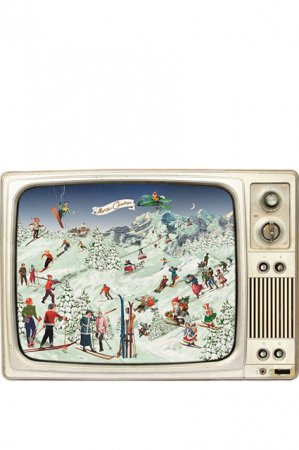 Gammeldags låge julekalender - fjernsyn med skiløbere