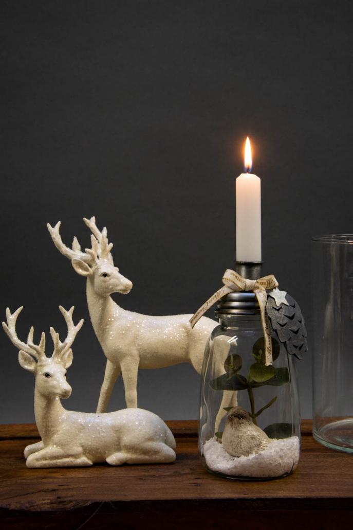 Juledekoration 2018 - Kalenderlys glas med små kalenderlys
