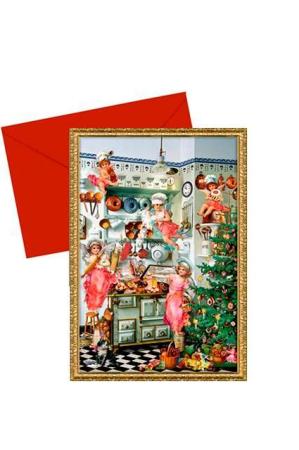 Julekort med julekalender - engle i køkken