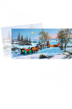 Julekort med julekalender - hestevogn i snelandskab