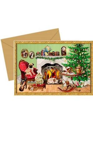 Julekort med julekalender - hunde