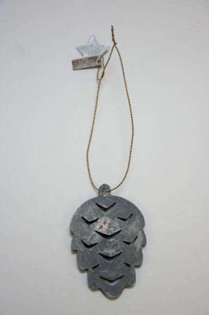 Juleophæng - kogle af zink i messing wire