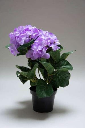 Kunstig hortensia i potte - lilla