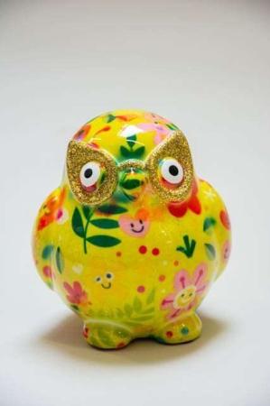 Pomme Pidou petit owlets. Sparebøsse til børn. Sparebøsse til voksne. Ugle sparebøsse