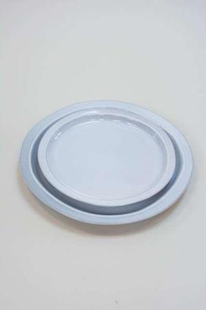 Stentøj tallerken - lyseblå med rustik kant