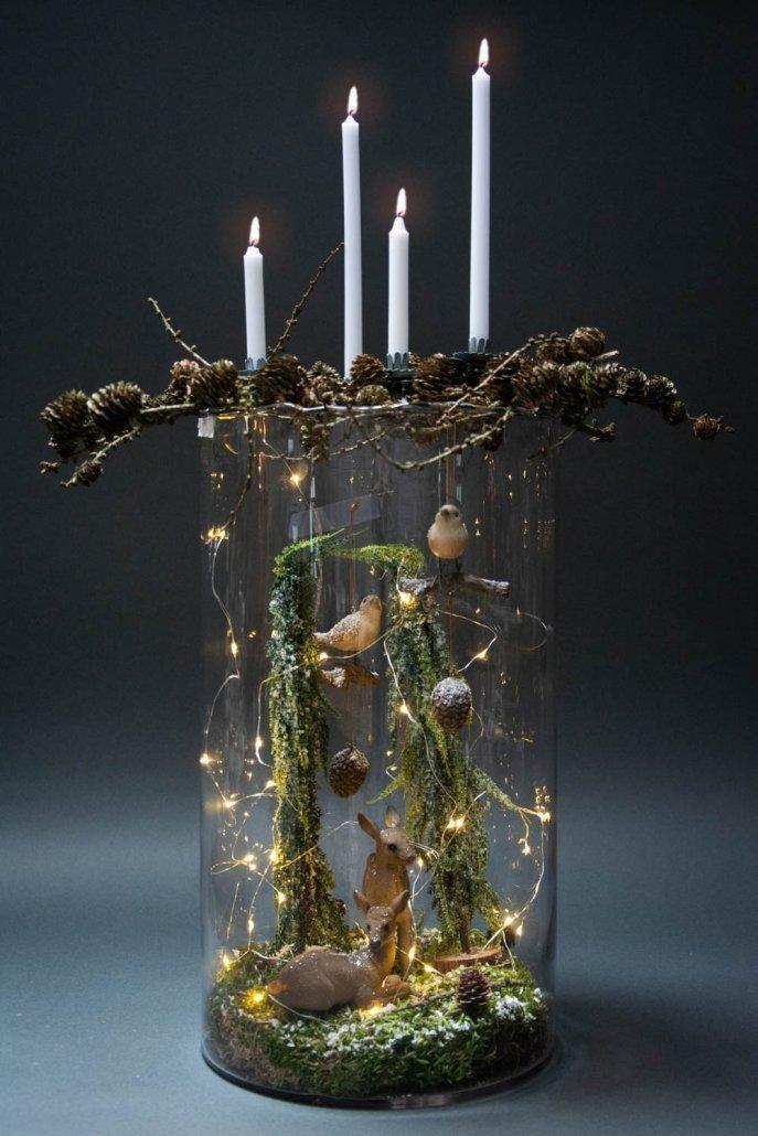 Inspiration til adventsdekoration i hurricaneglas