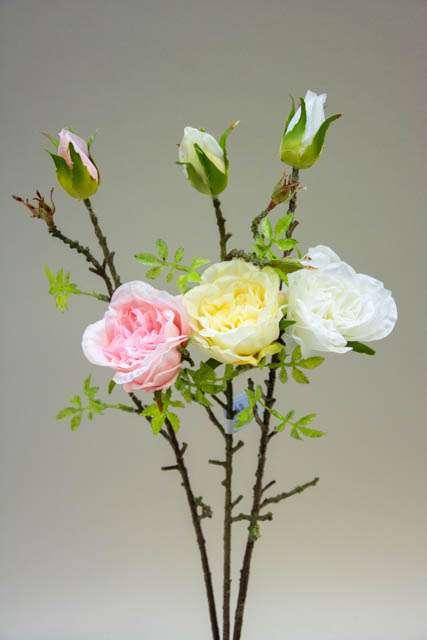 Kunstig rosengren hvid-lysegul-lyserød