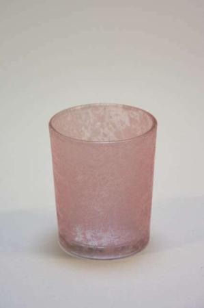 Fyrfadsstager. Farvede glasstager. Fyrfad i farver lyserød