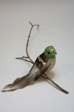 Fugl på clips. Grøn med glimmer.