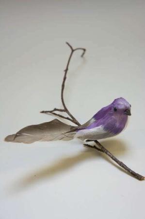 Fugl på clips. Lilla og grå