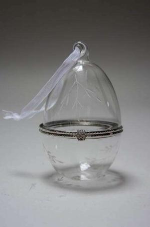 Glasæg med ornamenter, stående - kan åbnes