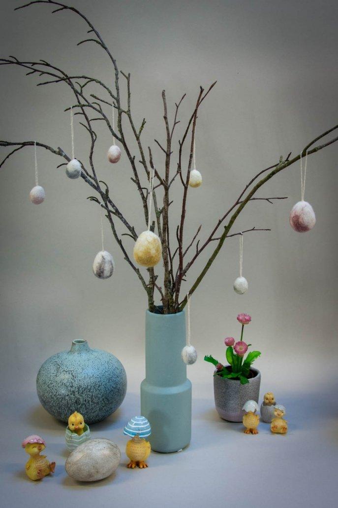 Inspiration til påske - påskeæg af filt og små påskekyllinger