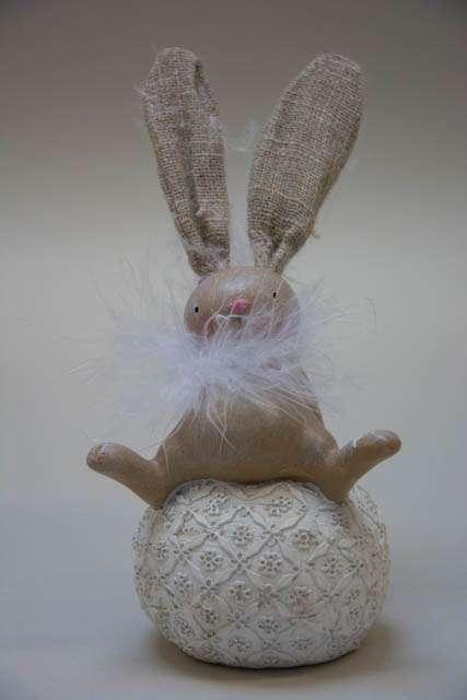 Kanin på æg. Fjer. Påskepynt 2019