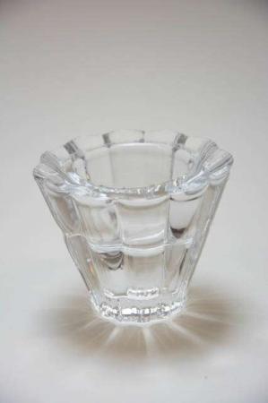 Lysestage af klar glas.