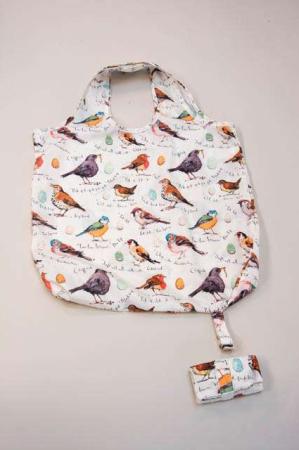 foldbar indkøbspose stof - motiv af fugle