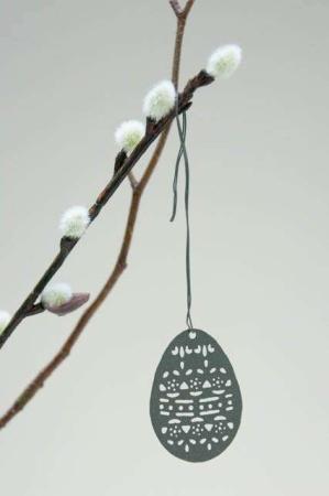 hængende påskeæg metal - antrasitgrå
