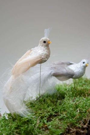Deko fugle på pind. Fugle til dekorationer