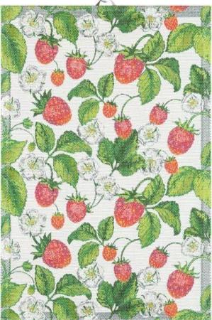 Ekelund håndklæde Jordgubbar. Viskestykke i økologisk bomuld.