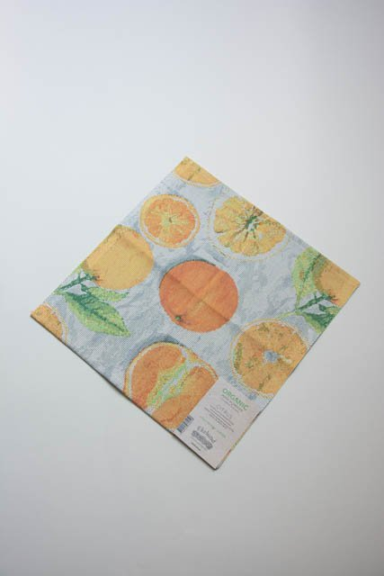 Ekelund Citrus stofserviet i 100% økologisk bomuld. Serviet af stof. Mundserviet tekstil. Vævet stofserviet.