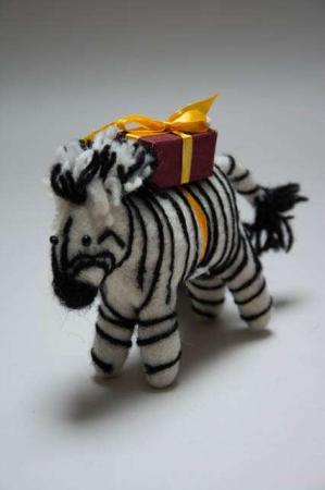 Filt dyr. Fairtrade filtdyr. Én Gry & Sif zebra