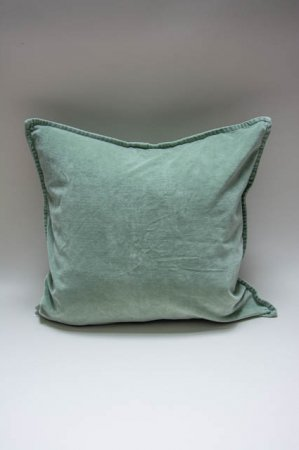 Pudebetræk mintgrøn velour 52x52 cm. Støvgrønt pudebetræk til sofapude.