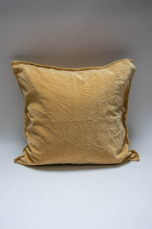 Pudebetræk sennepsgul velour 52x52 cm. Karrygult pudebetræk til sofapude. Mustard pudebetræk til pyntepude.