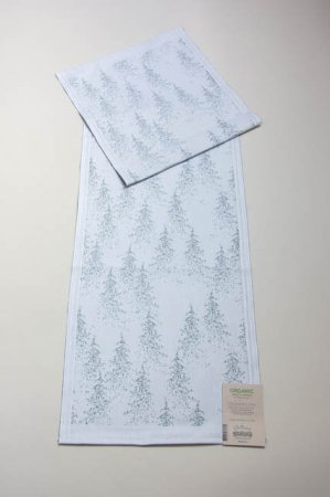 Bordløber fra Ekelund - Cedarwood. Bordløber i økologisk bomuld. Vævet bordløber i hvid og grå.