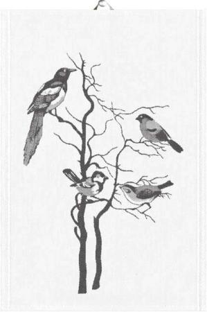 Ekelund Birds on Tree Håndklæde 35x50. Økologisk viskestykke i bomuld. Økologisk håndklæde.