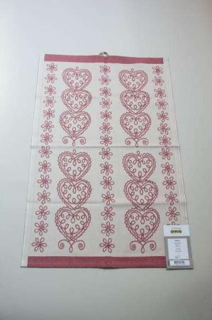 Ekelund Hjärtan håndklæde. Kvalitetshåndklæde i bomuld. Viskestykke i lækker kvalitet fra svenske Ekelund.