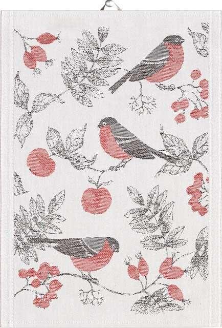 Ekelund Vinterfågel håndklæde. Økologks viskestykke. Økologisk håndklæde i bomuld.