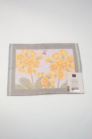 Økologisk karklud uden mikroplast - bomuld og bambus - motiv af gule blomster
