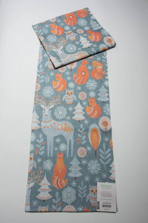 Økologisk juleløber fra Ekelund - Djurliv. Julebordløber i orange og grå farver. Vævet bordløber til jul. Bordløber med skovens dyr.