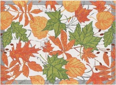 Økologisk stofdækkeserviet i efterårsfarver fra Ekelund - Perslöv. Dækkeserviet i stof. Vævet stofdækkeserviet..