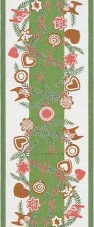 Økologisk julebordløber fra Ekelund - Julis. Juleløber med brunkager og grangrene. Julebordløber i stof. Vævet løber i god kvalitet.