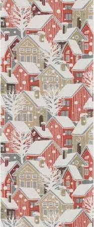 Økologisk juleløber fra Ekelund - Snöstad. Bordløber til jul. Julebordløber i stof. Bordløber med huse og sne. Tekstiler i høj kvalitet. Vævet stofbordløber.