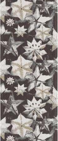 Økologisk juleløber fra Ekelund - Vinterskog. Bordløber til jul. Julebordløber i stof. Bordløber med skovmotiver. Tekstiler i høj kvalitet. Vævet stofbordløber med stjerner.