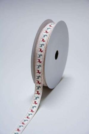 Dekorationsbånd med rensdyr. Julebånd til dekorationer. Rødt julebånd til indpakning af julegaver. Gavebånd i stof.
