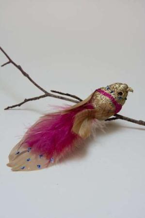Fugl på clips - guldglimmer og pink. Bordeaux fugl på clips. Guldfugl på clips. Dekofugl på clips til dekorationer.