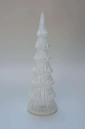 Hvidt juletræ med lys. Juletræ med batteri. Lysende juletræ i glas. Glasjuletræ med batteri til lys. Julepynt med lys. Lysende julepynt. Juletræ med frostlook.