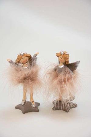 Mocca farvede engle med fjer - Lullu og Louise julefigurer
